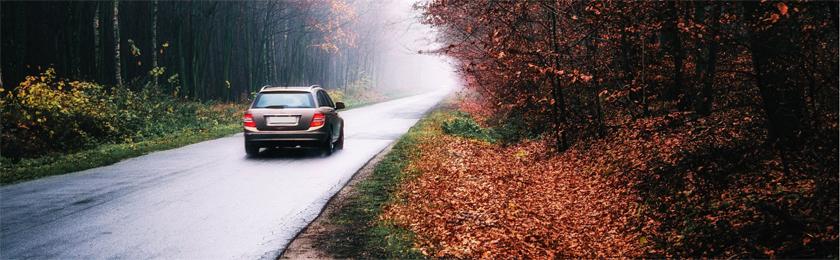 Autofahren im Herbst.